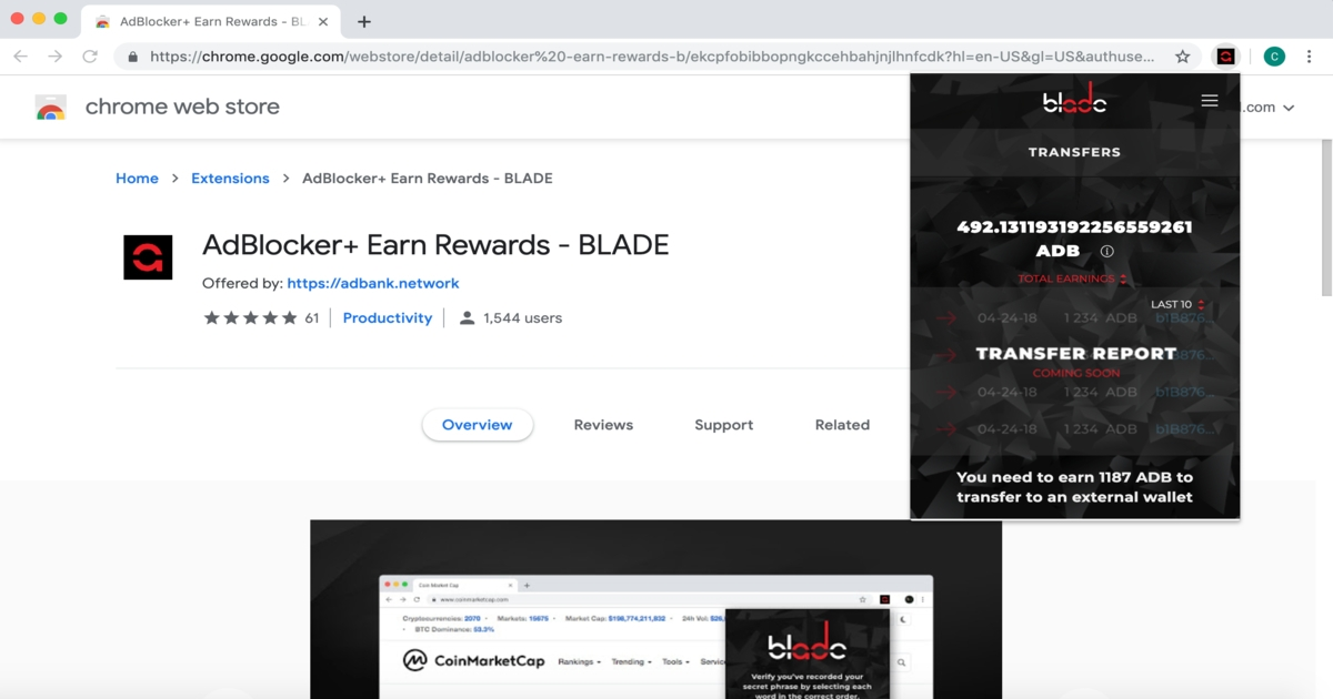 Adbank Inc - Adblocker Extension with Crypto Rewards