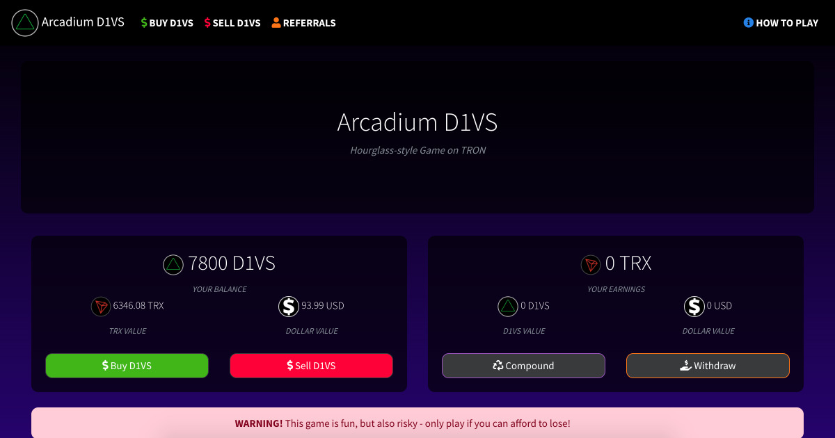 Arcadium D1VS - Hourglass-style Dividends Game on TRON