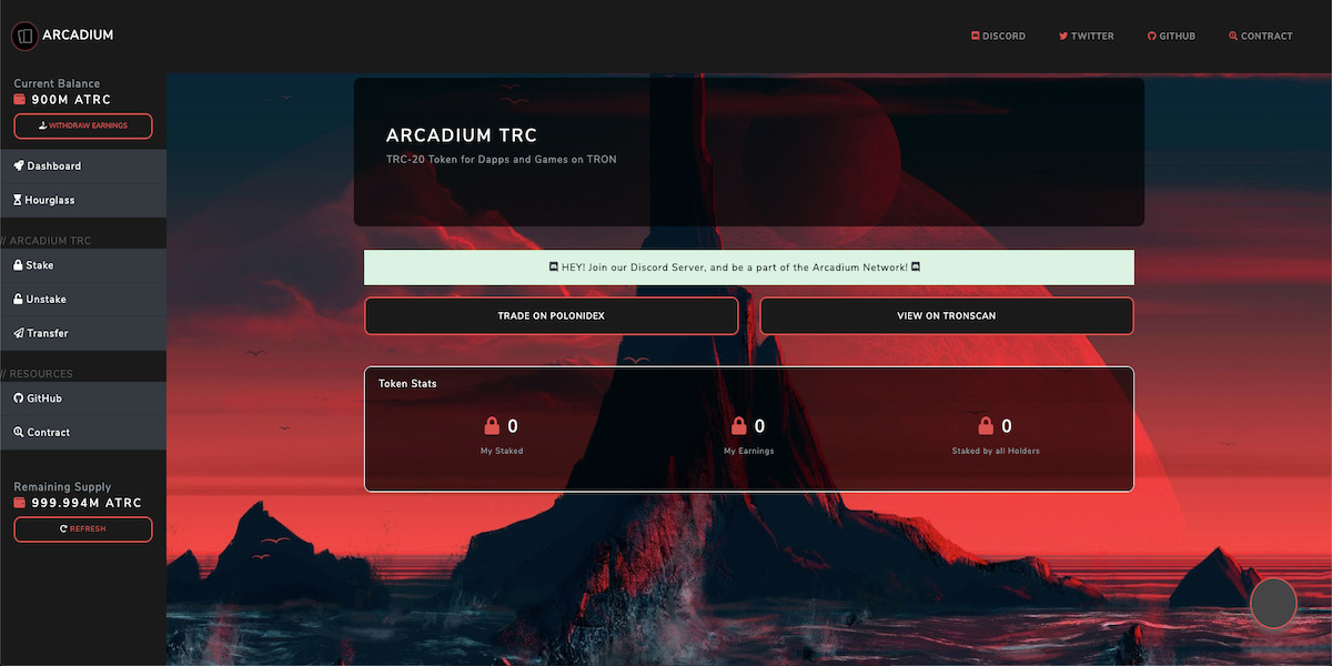 Arcadium TRC - Arcadium Network TRC-20 Token Dapp Interface