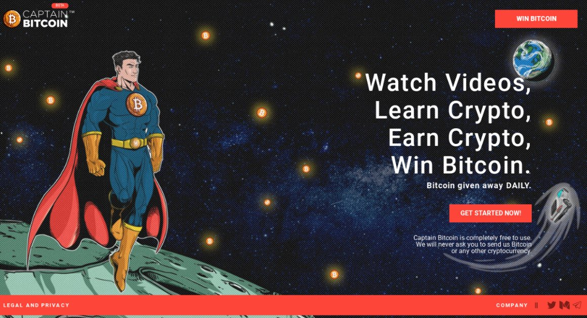 Captain Bitcoin - Watch videos,  earn crypto, win Bitcoin.