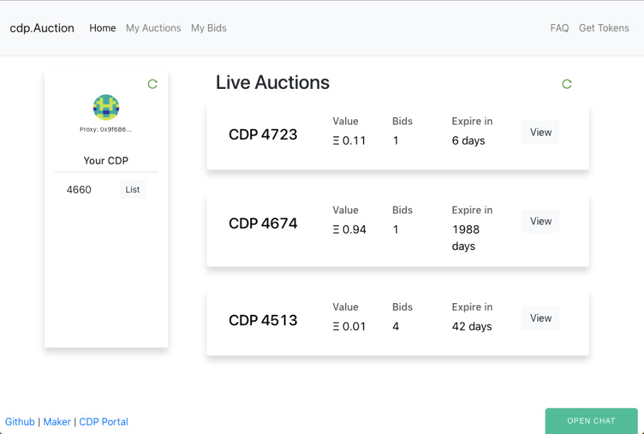 CDP Auction - A decentralized marketplace for CDPs