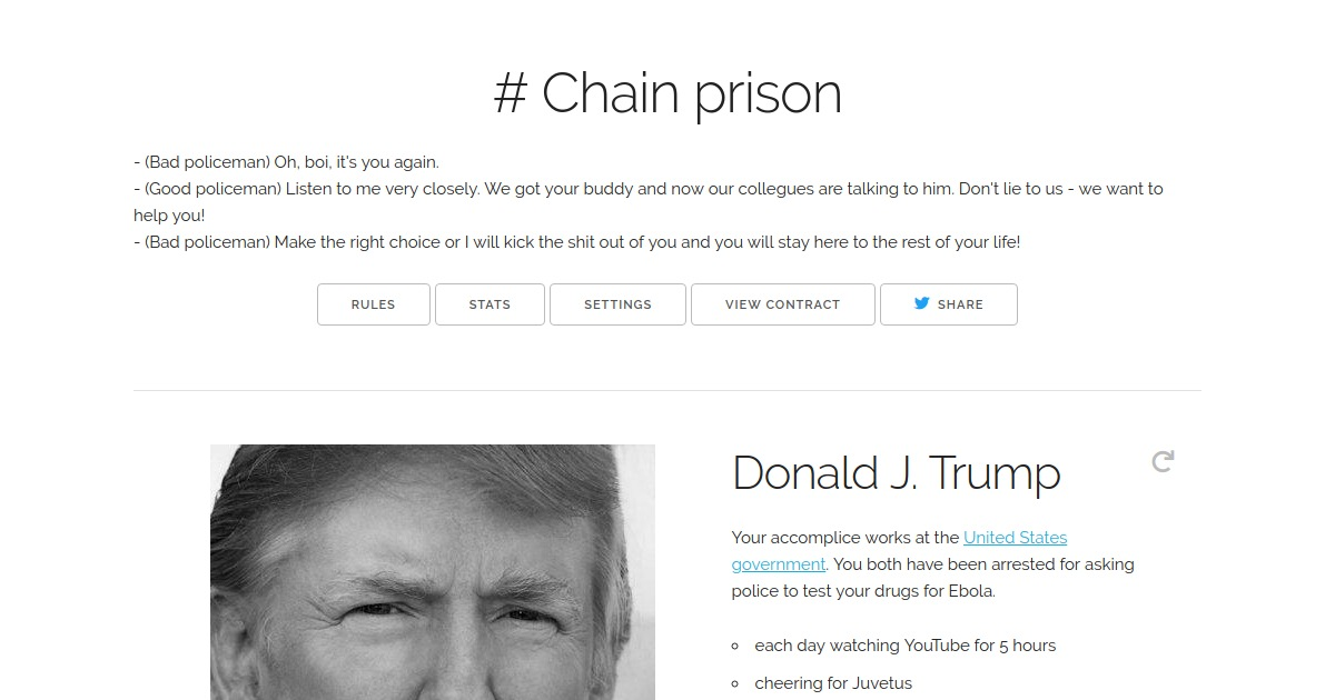 ChainPrison - Prisoner's dilemma game