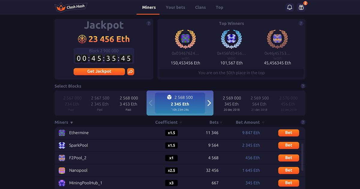 Clash Hash - Betting platform that allows to bet on a miners