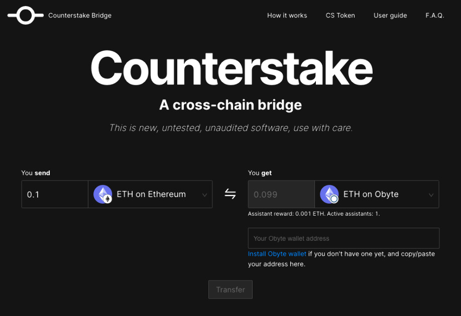 Counterstake on Obyte - A fully decentralized cross-chain bridge