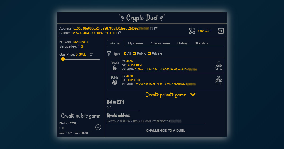 CryptoDuel - Betting on luck, chances are 50/50!