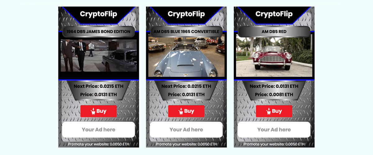 CryptoFlip Cars - Car trading cards with dividends and advertising
