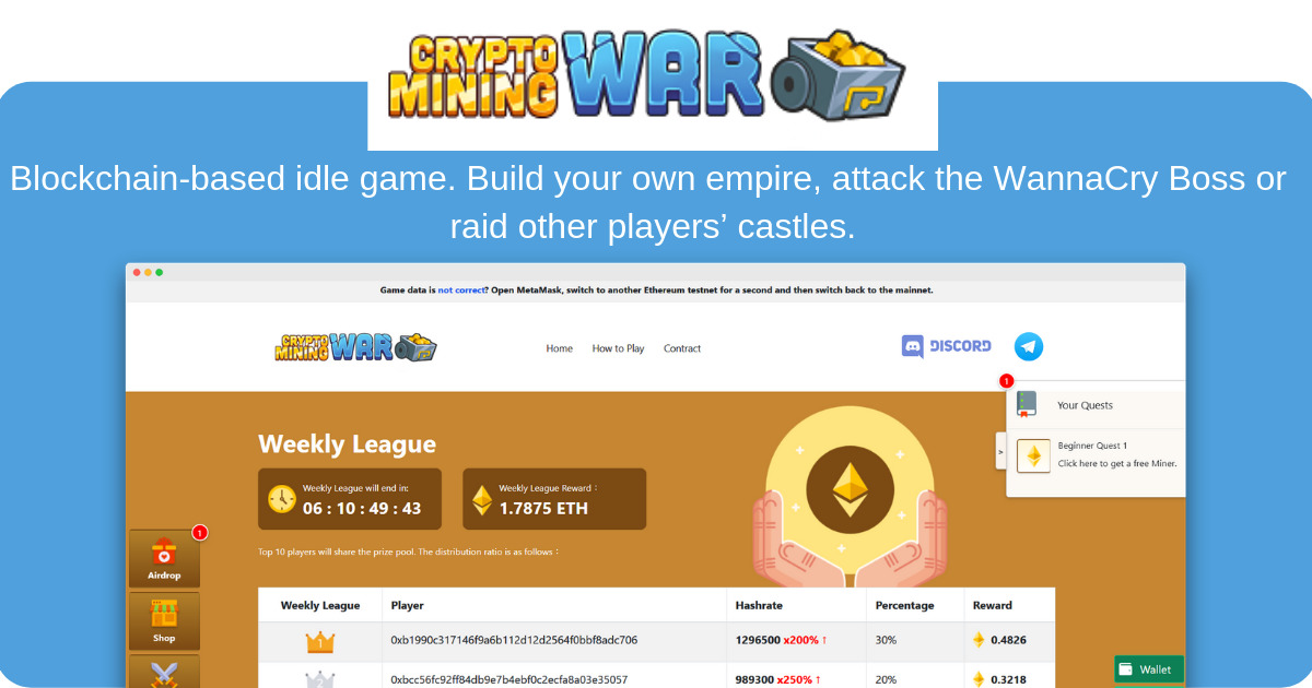 CryptoMiningWar - Build Your OWN Empire on the Blockchain