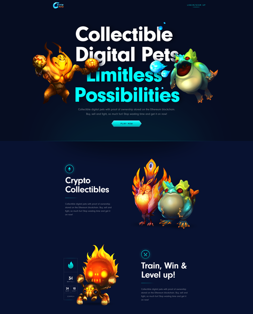 CryptoPets - Collect, battle, and level up digital creatures