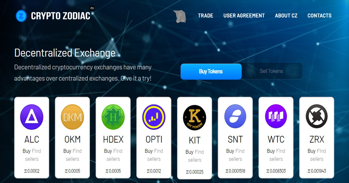Cryptozodiac - Trade ERC20 tokens
