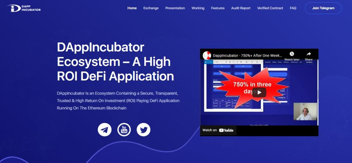 DappIncubator - Earn a high ROI safely and securely