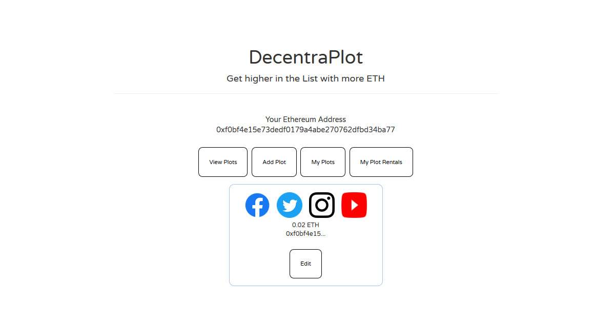 Decentra Plot - Get a Plot, promo your Socials, rent out your Plot