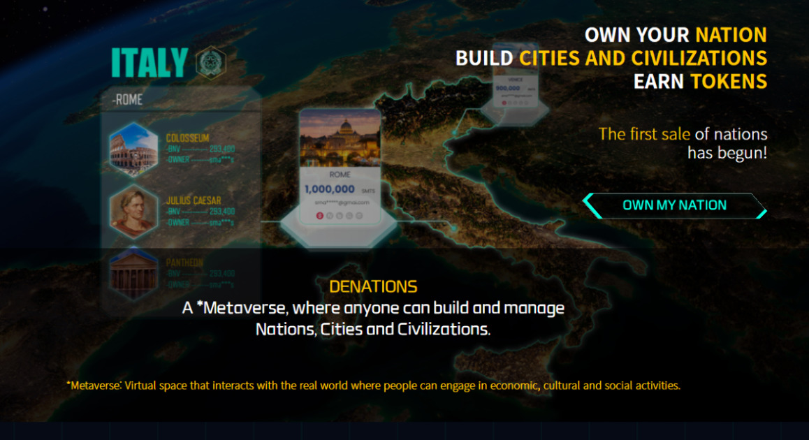 Decentralized Nations - Collect nations, cities in the virtual world.