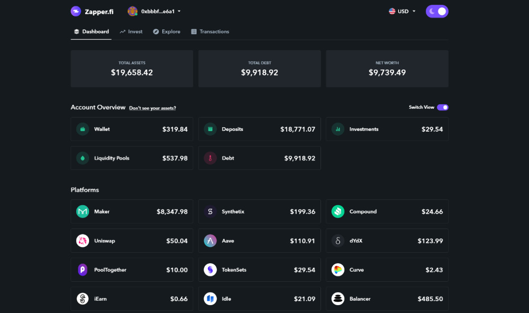 DeFiZap - Manage all your DeFi assets from one interface.
