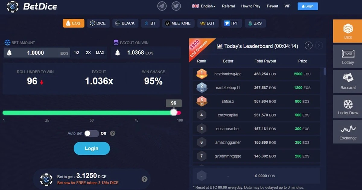 Dice - EOS Betting platform