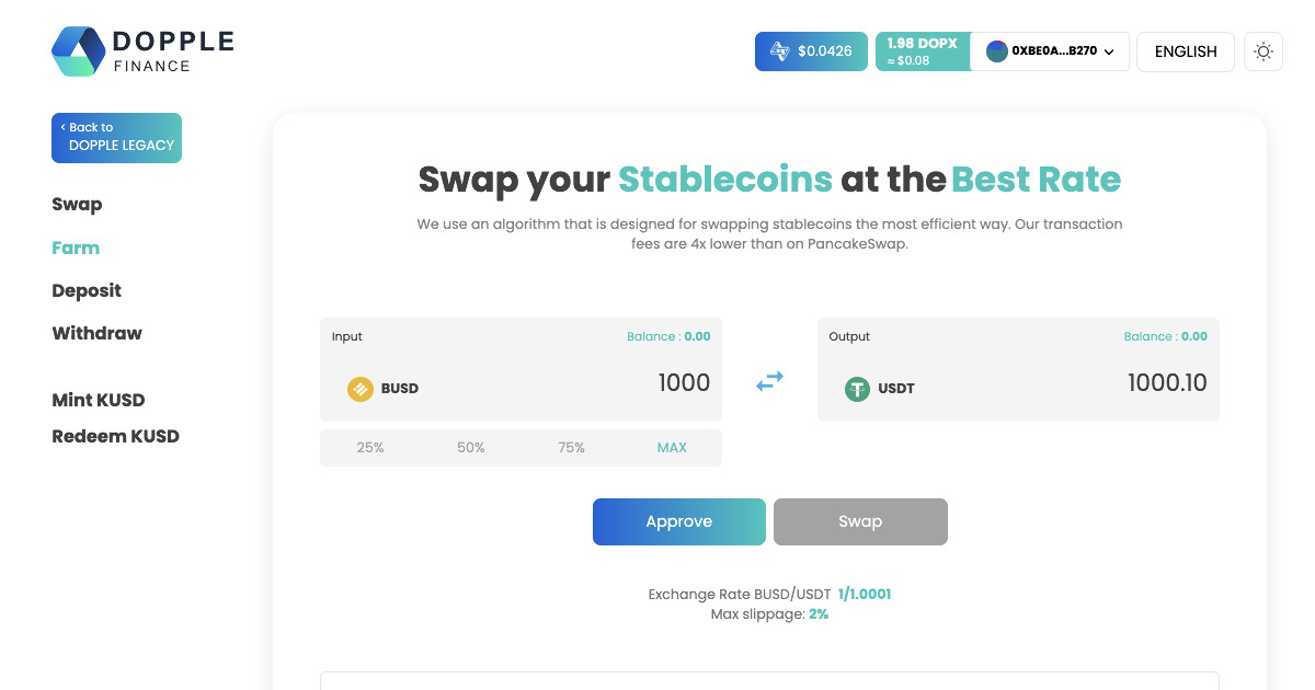 Dopple Finance - A Stablecoin Exchange on the BSC