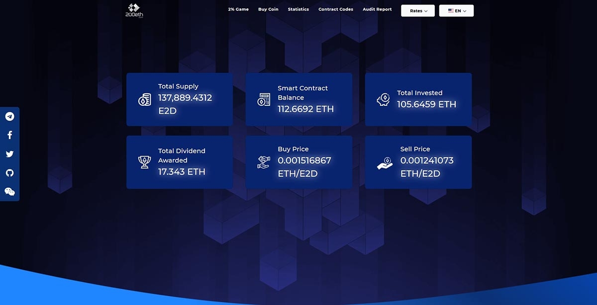 E2D Game - A fork of POWH 3D, drawing dividends from 200eth