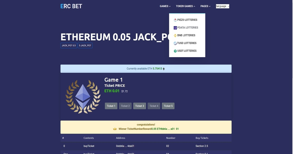 ERC_BET - eth,erc tokens lottery bet game