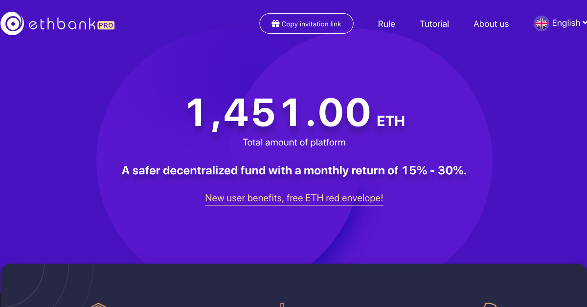 ETH Bank Pro - A safer ETH fund with a monthly return of 30%.