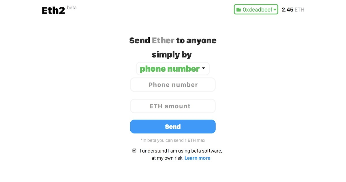 Eth2 - Send ETH by Phone Number