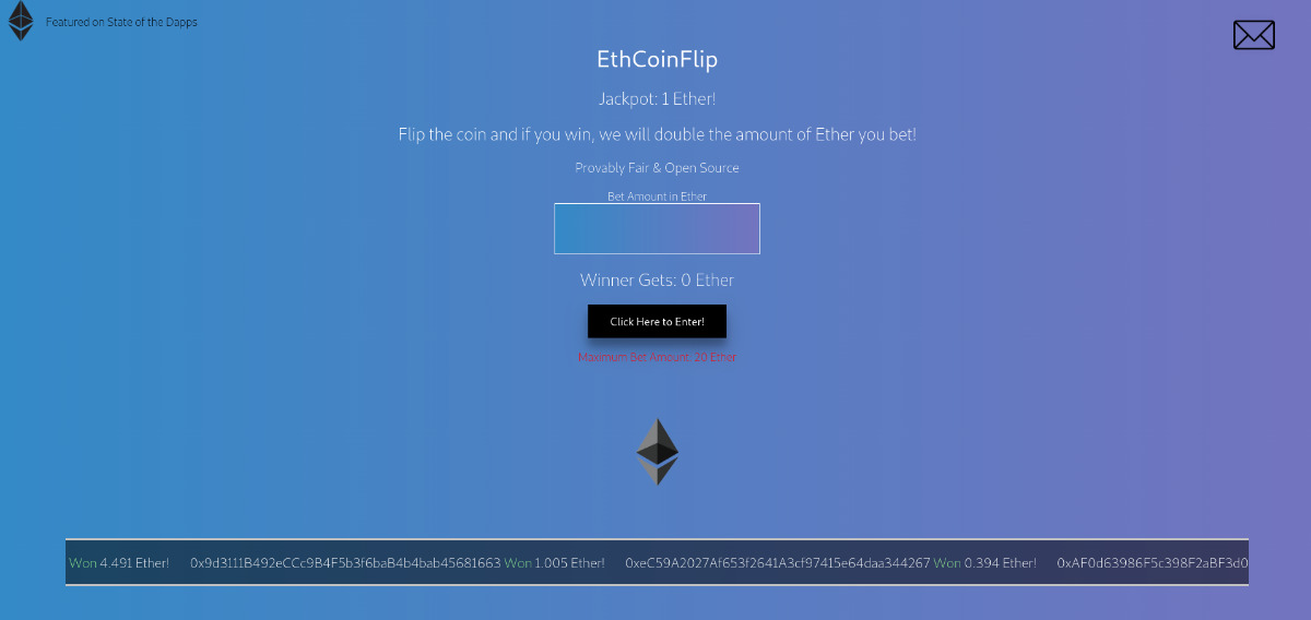 EthCoinFlip - Coin flip gambling game