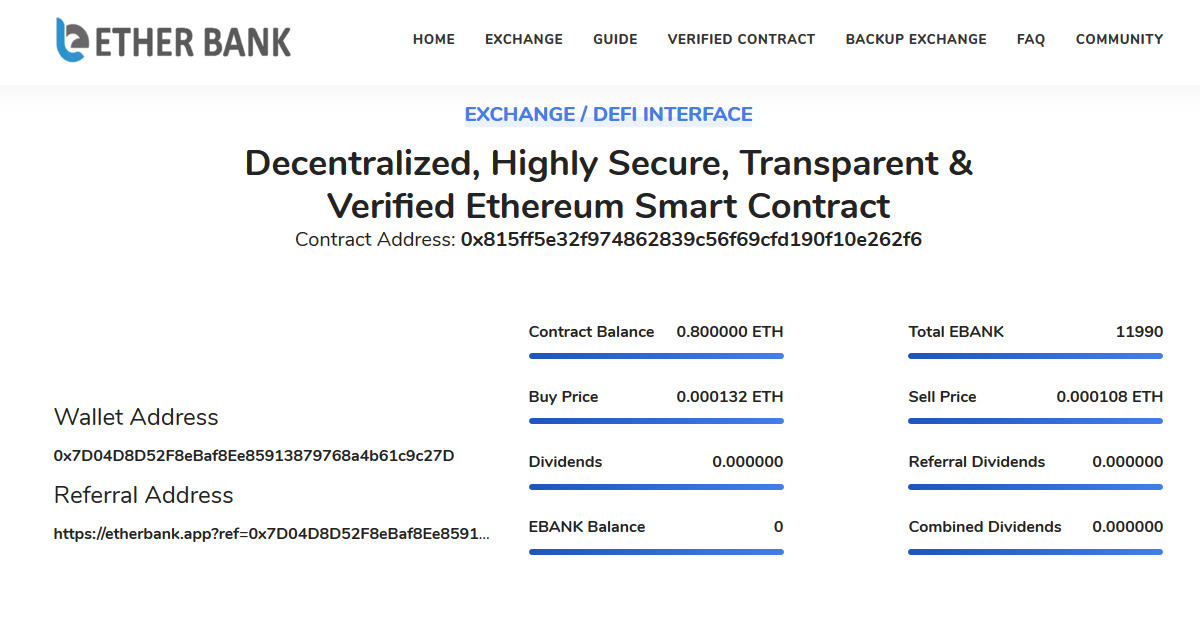 EtherBank - Dividend Paying Smart Contract