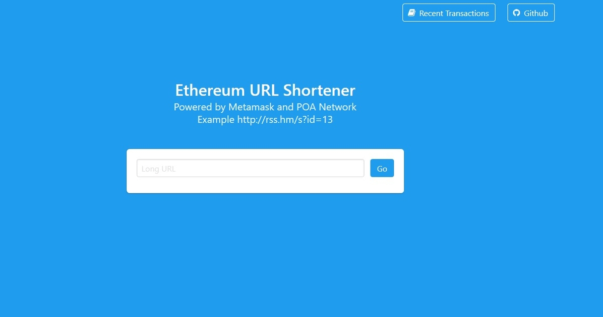 Ethereum URL Shortener - Ether URL shortener powered by Metamask and POA
