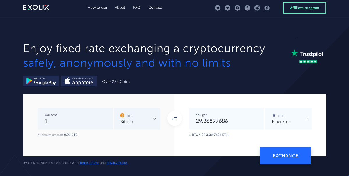 Exolix - Anonymous instant crypto exchange w/fixed rates