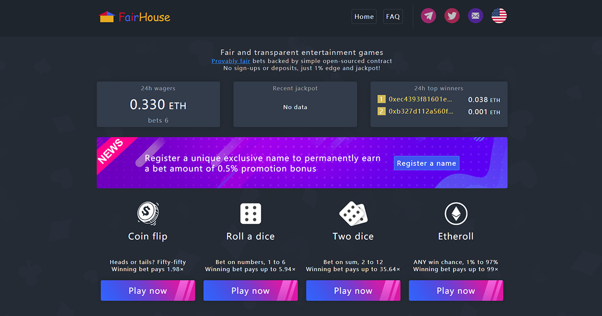 FairHouse - Provably fair and transparent gambling games