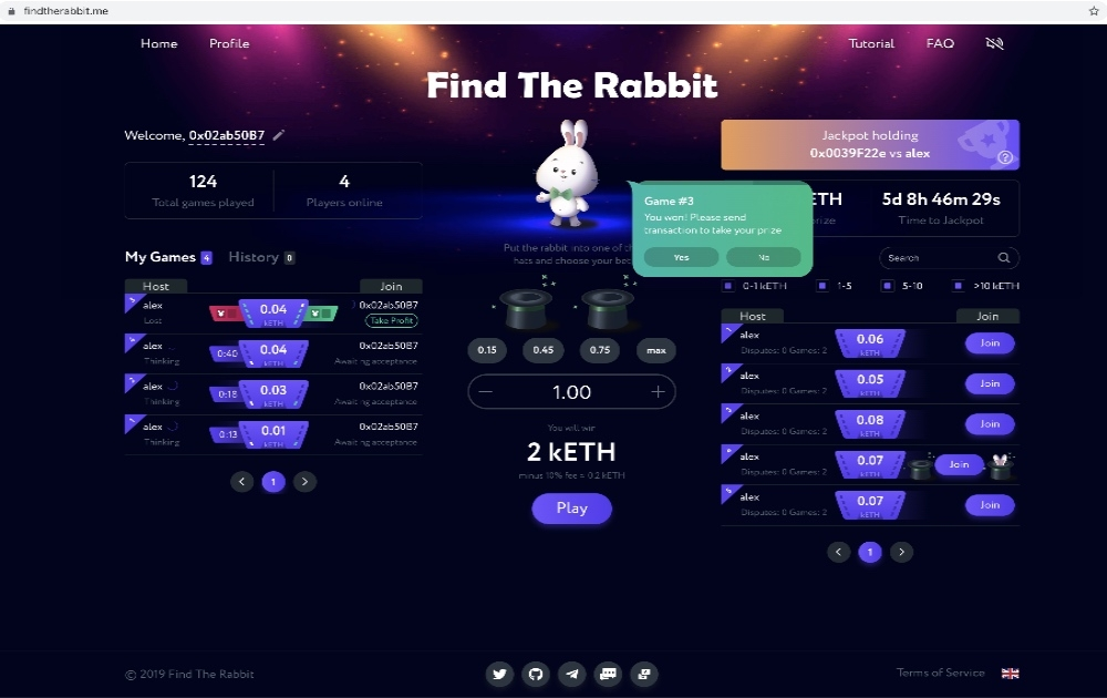 Find The Rabbit - POA - Game with true unhackable randomness
