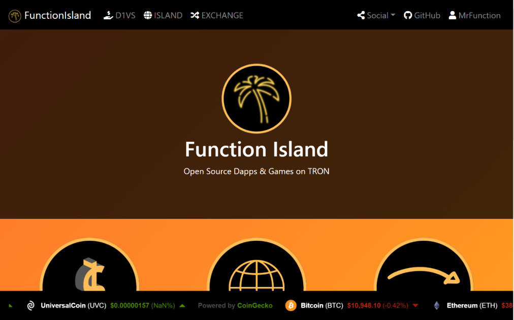 Function Island - Open-Source Dapps and Games on TRON