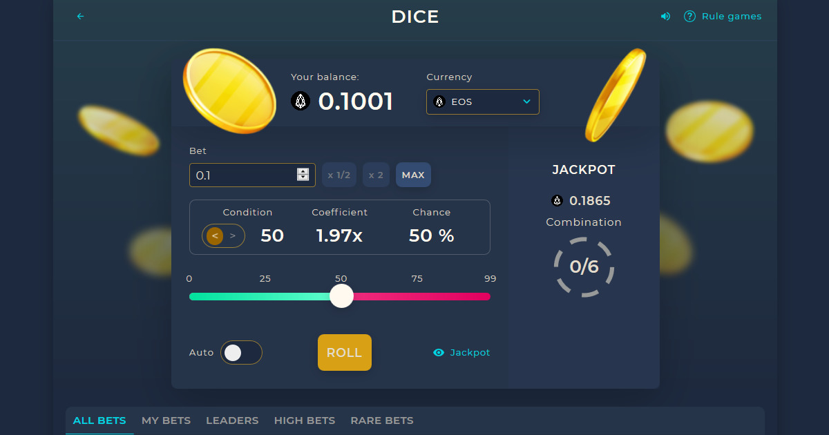GoldenChip - casino, Dividends, jackpot, gambling, dice,  eos