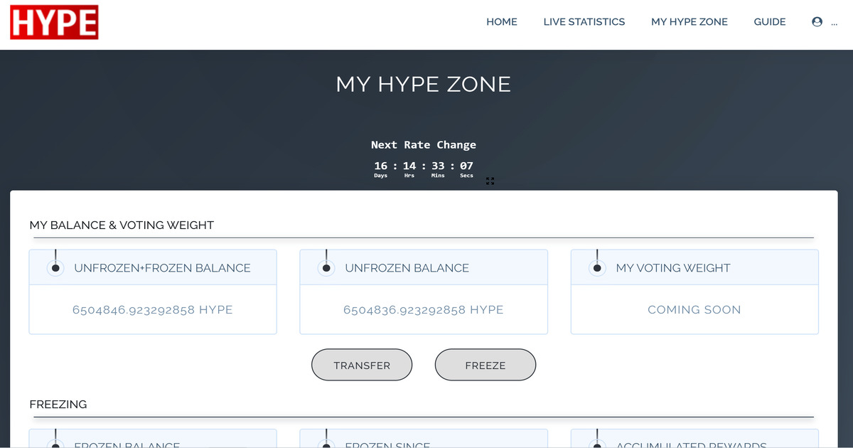 HYPE Token dApp - Freeze, Vote, Stake, Burn, Melt Your HYPE Tokens