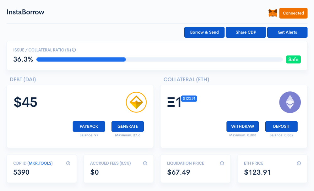 InstaDApp - Instant loans through DeFi