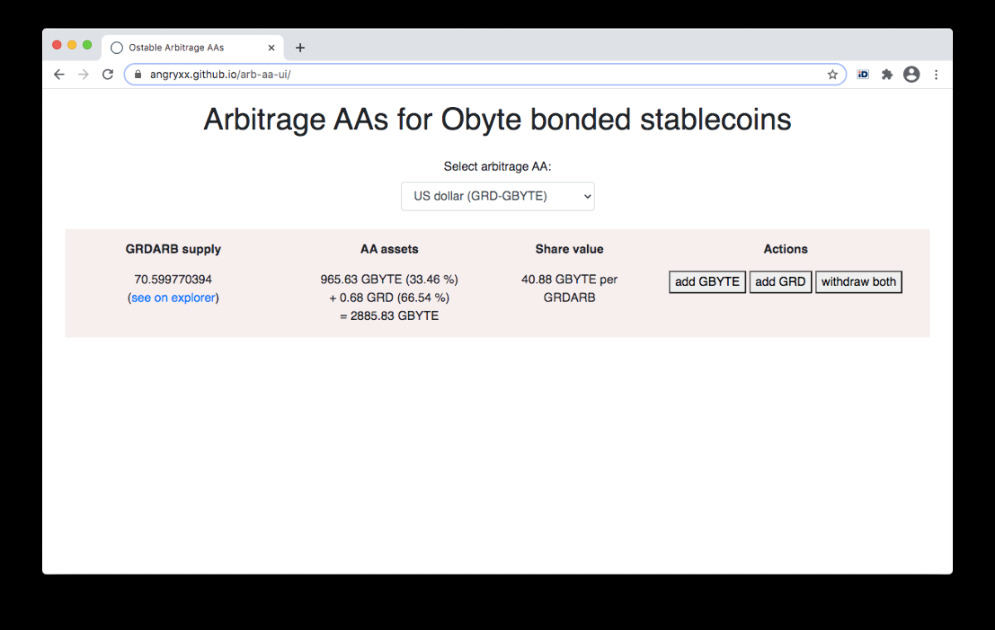 Interest-Stable Arbitrage - Arbitrage between interest and stable tokens