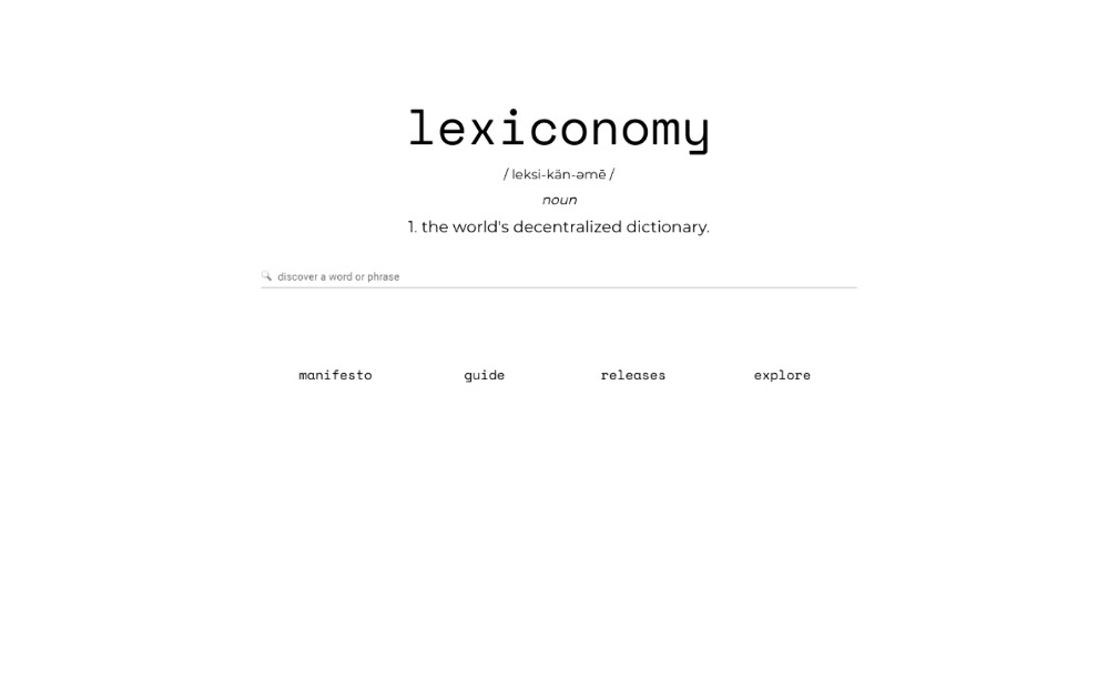 Lexiconomy - The world's first economized dictionary