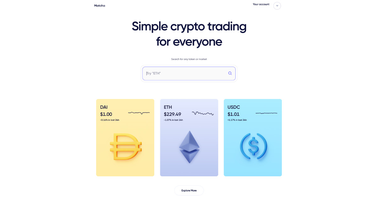 Matcha - Simple crypto trading for everyone. Powered by 0x.