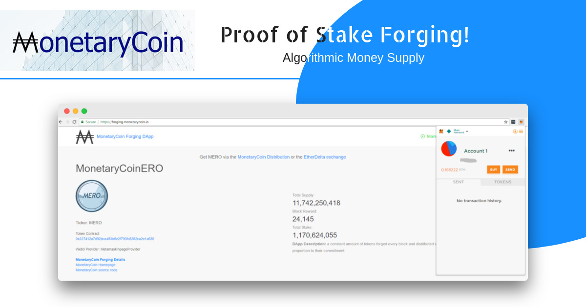 MonetaryCoin Forging Dapp - Algorithmic money supply