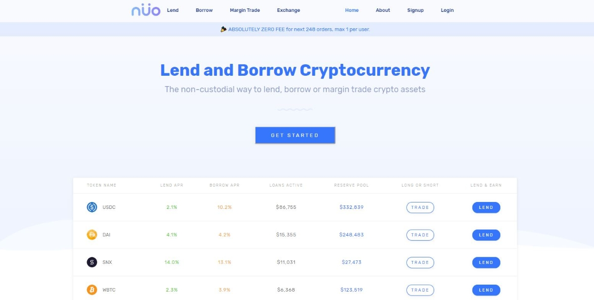 Nuo Lend - Financial control centre to store, spend and grow your cryptocurrencies