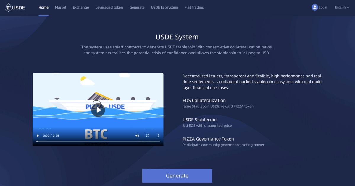 PIZZA - USDE - EOS based de-financial platform
