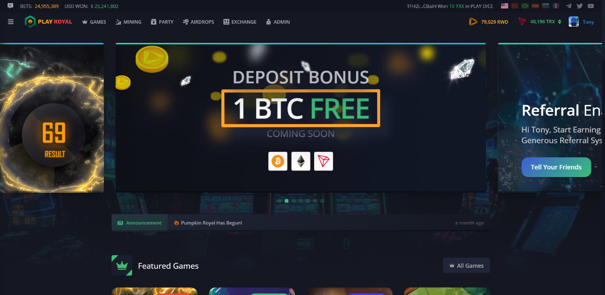 Play Royal - Play and Trade with BTC, ETH, TRX and many more