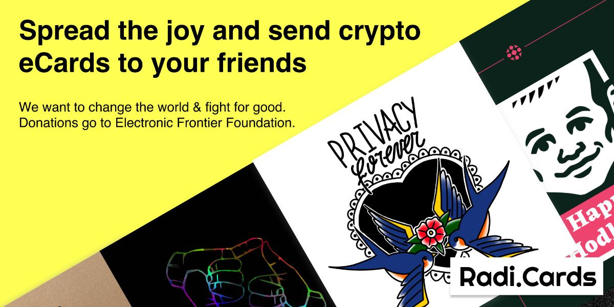 radicards send e cards to your friends using crypto