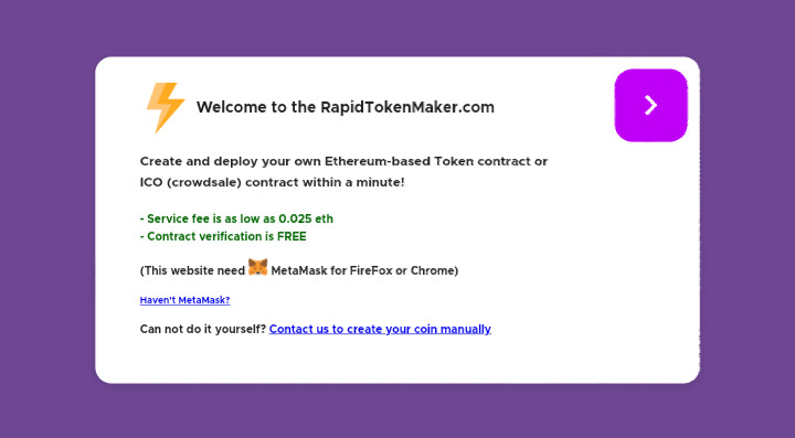 Rapid Token Maker - Create your own token within a minute!