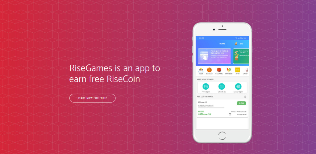 RiseGames - Play easy games and earn RiseCoin Tokens Free
