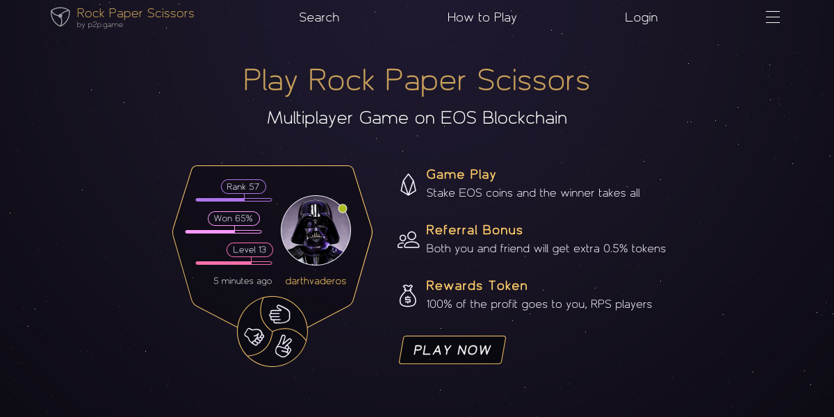Rock Paper Scissors EOS - Earn crypto when you win in the game