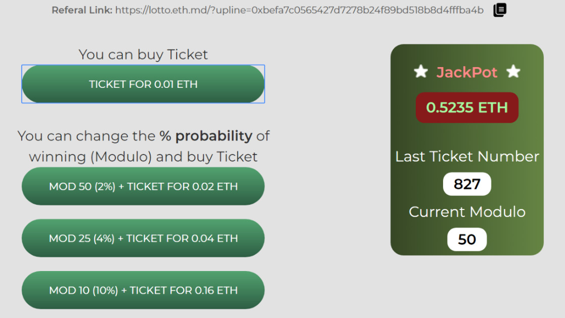SimpleLotto - Simple lottery with a 50% chance of winning