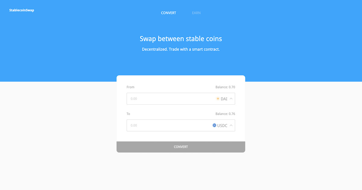 StablecoinSwap - Swap stablecoins without slippage