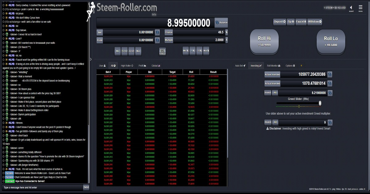 Steem-Roller - 1% House Edge, Provably Fair Dice with Investing!