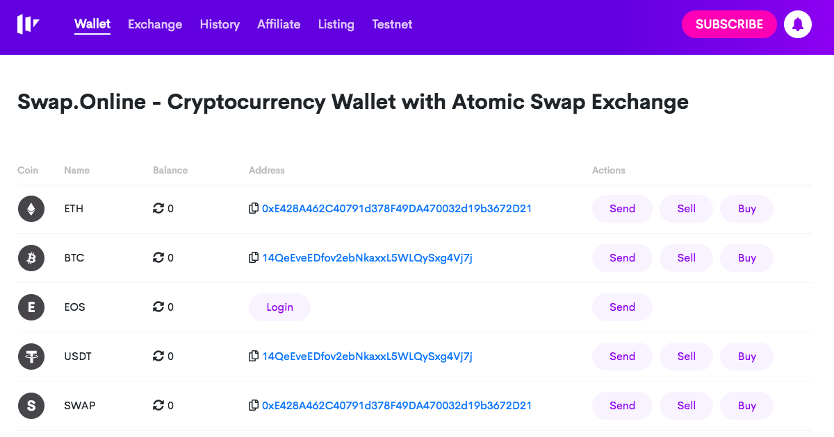 Swap Online - Wallet with atomic swap exchange