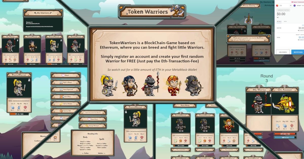 TokenWarriors - Trade, breed and fight little TokenWarriors