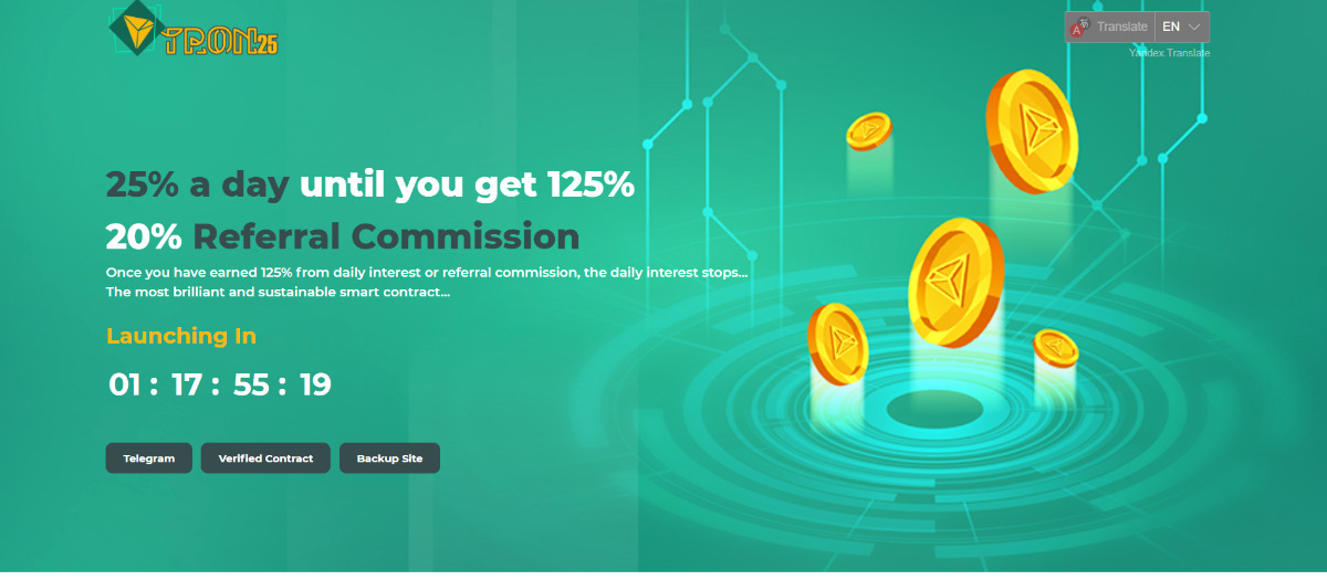 Tron25 - Earn 25% a day! 125% in 5 days...